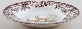 Spode Woodland brown with colour Dessert or Small Soup Plate Deer