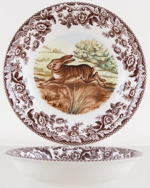 Spode Woodland brown with colour Cereal or Dessert Bowl Rabbit