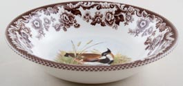 Spode Woodland brown with colour Dessert or Soup Bowl Lapwing