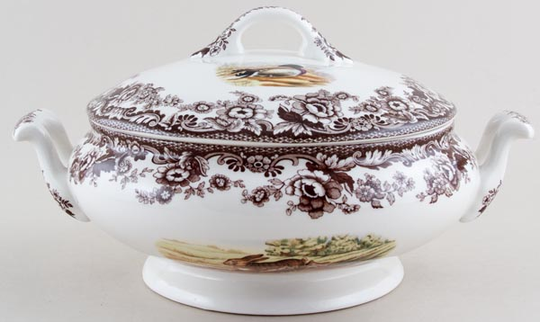 Spode Woodland brown with colour Vegetable Dish with Cover