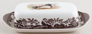 Spode Woodland brown with colour Butter Dish Stick Mallard