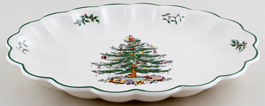 Spode Christmas Tree colour Dish oval fluted