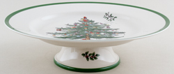 Spode Christmas Tree colour Cake Plate with Foot