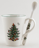 Spode Christmas Tree colour Mug & Spoon Set