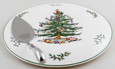 Spode Christmas Tree colour Cake Plate with Server