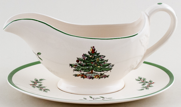 Spode Christmas Tree colour Sauce Boat with Stand