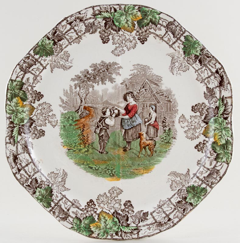 Spode Byron brown with colour Sandwich Serving Plate c1937