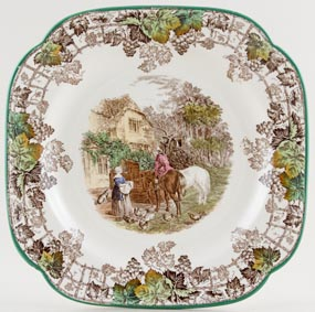 Spode Byron brown with colour Bread and Butter Plate c1940