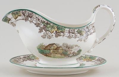 Spode Byron brown with colour Sauce Boat with Stand c1950s