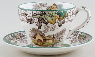 Spode Byron brown with colour Teacup and Saucer c1950