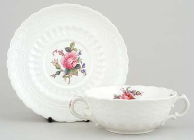 Spode Billingsley Rose colour Soup Cup and Saucer c1950s