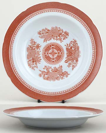 Spode Fitzhugh red Soup or Pasta Plate c1980s