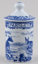 Spode Blue Room Spice Jar Parsley Aesops Fables c1990s