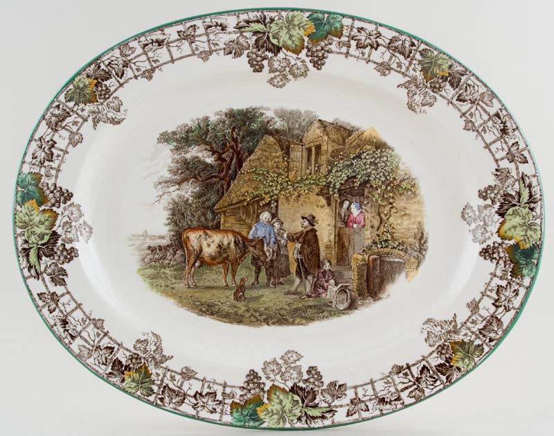 Spode Byron brown with colour Meat Dish or Platter c1950s