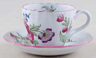 Spode Marlborough Sprays colour Teacup and Saucer c1950s
