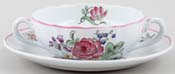 Spode Marlborough Sprays colour Soup Cup and Saucer c1980