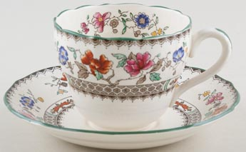 Spode Chinese Rose colour Teacup and Saucer c1930s to 1950s