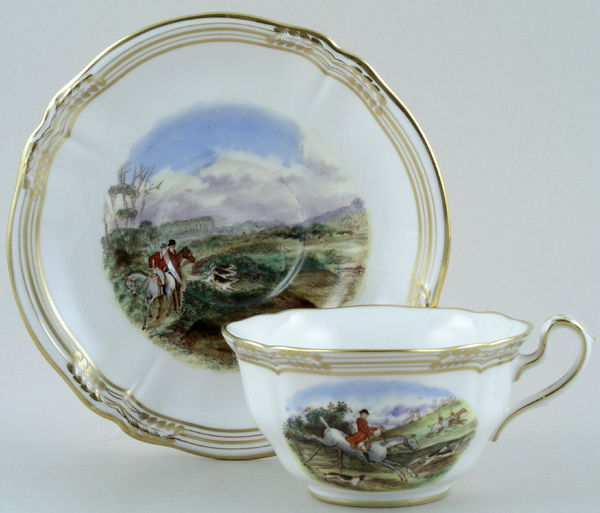 Spode The Hunt colour Teacup and Saucer c1960s
