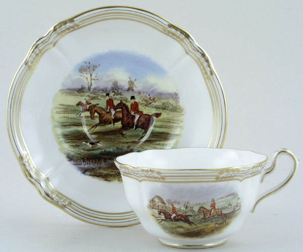 Spode The Hunt colour Teacup and Saucer c1970s