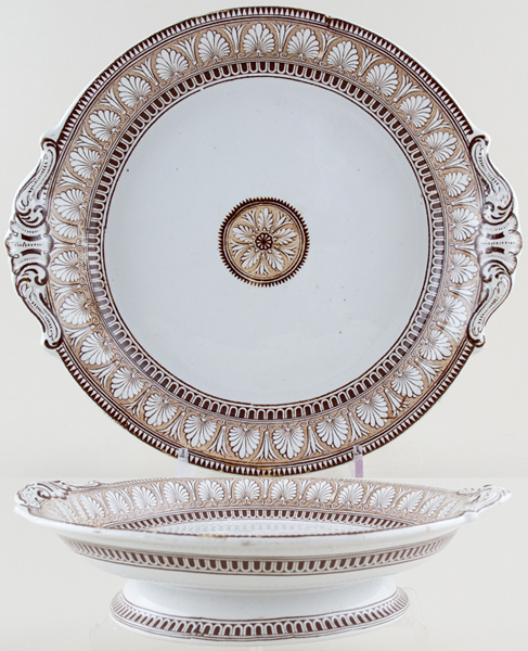 Spode Honeysuckle brown Cheese Stand c1855