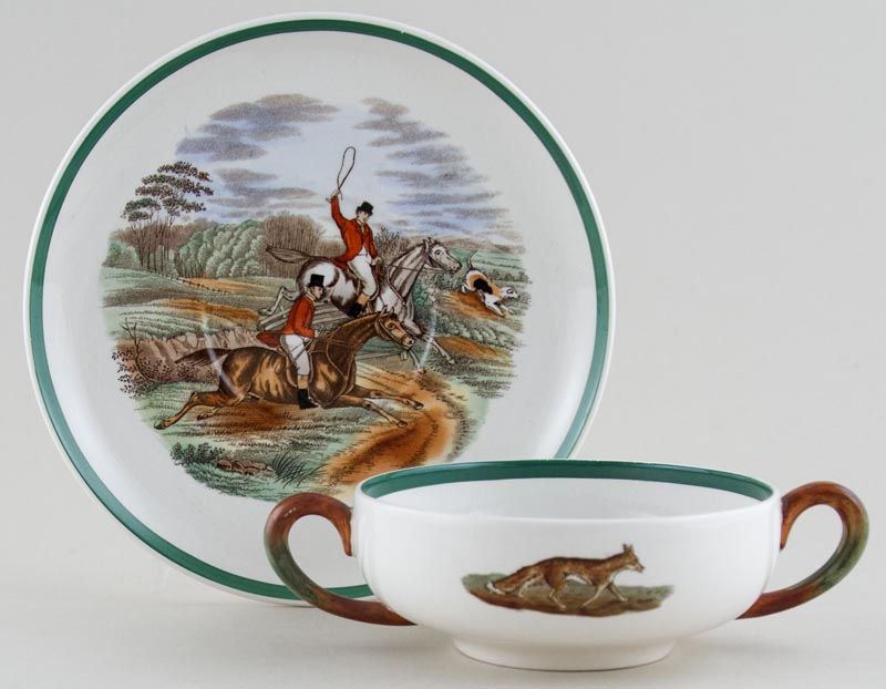Spode The Hunt colour Soup Cup and Saucer c1956