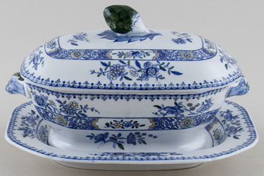 Spode Nigel blue with colour Sauce Tureen c1917