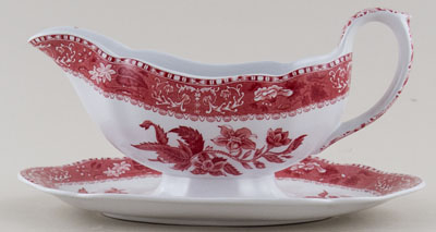 Spode Camilla pink Sauce Boat with Fixed Stand c1960s