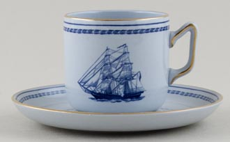 Spode Trade Winds Blue Coffee Cup and Saucer Brig Eliza c1970s