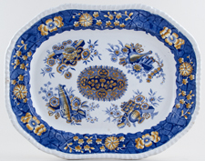 Spode Trophies blue with colour Meat Dish or Platter c1850