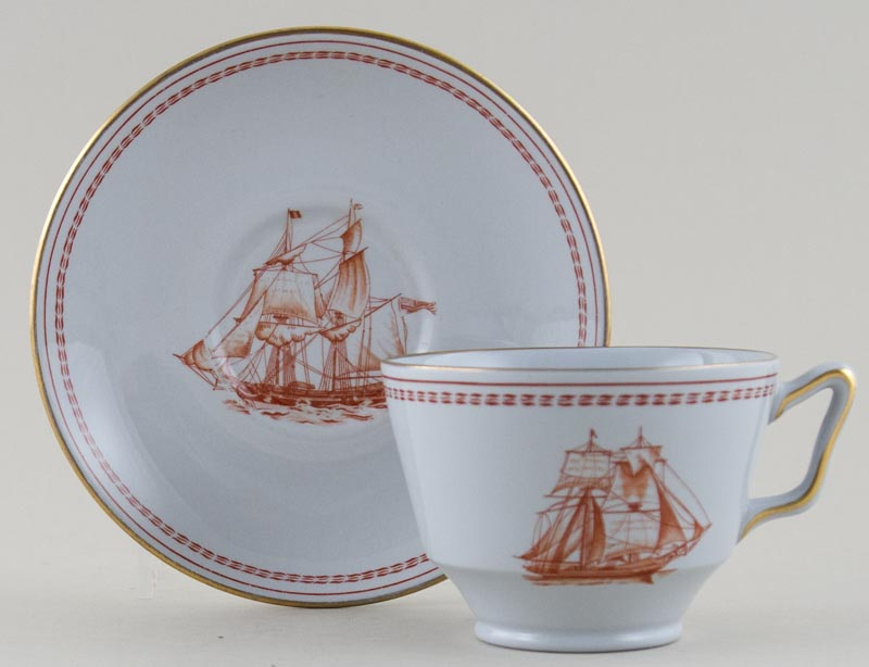 Spode Trade Winds Red Teacup and Saucer Cygnet of Salem c1970s