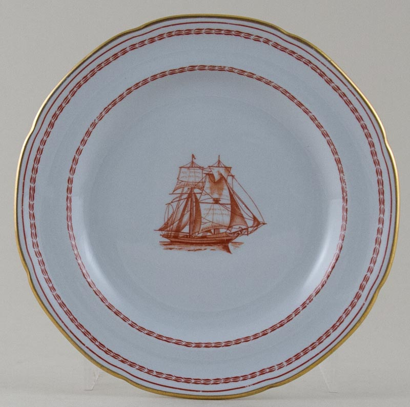 Spode Trade Winds Red Plate Brig c1970s