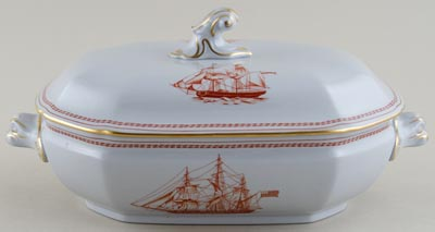 Spode Trade Winds Red Vegetable Dish With Cover c1970s