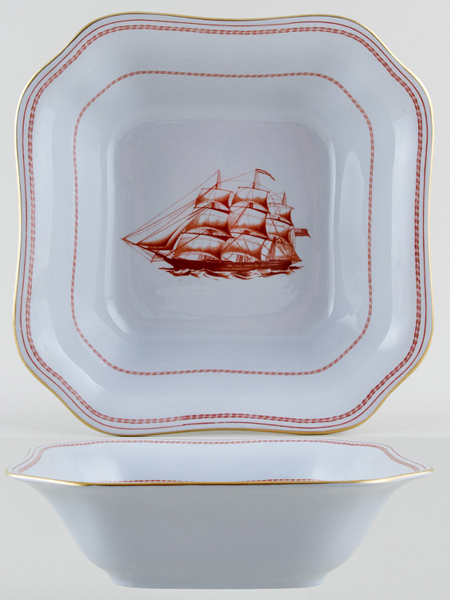 Spode Trade Winds Red Bowl Ship Pepperell c1970s