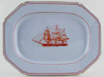 Spode Trade Winds Red Meat Dish or Platter Ship Windsor Castle c1970