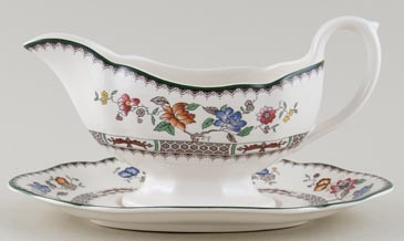 Spode Chinese Rose colour Sauce Boat and Stand c1993