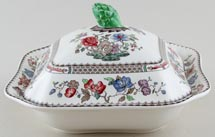 Spode Chinese Rose colour Vegetable Dish with Cover c1950s