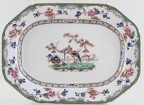 Spode Bird and Border colour Meat Dish or Platter c1950s