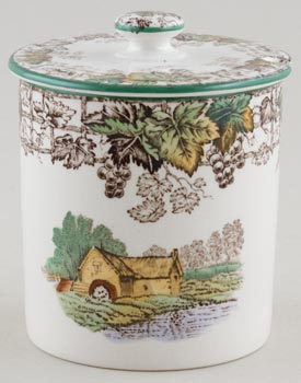 Spode Byron brown with colour Preserve Pot c1950s