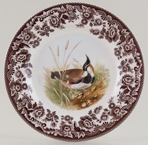 Spode Woodland brown with colour Plate Lapwing c2005