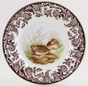 Spode Woodland brown with colour Plate Quail c2005