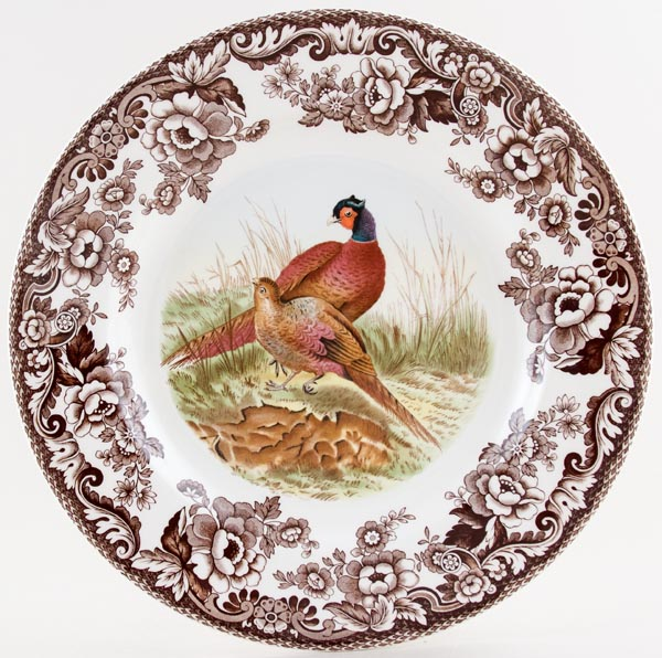 Spode Woodland brown with colour Plate Pheasants c2003