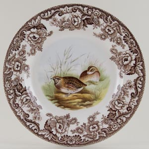 Spode Woodland brown with colour Plate Quail c2007