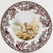 Spode Woodland brown with colour Plate Bighorn Sheep c2007