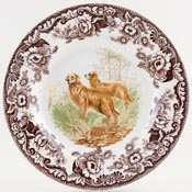 Spode Woodland brown with colour Plate Golden Retriever c2006