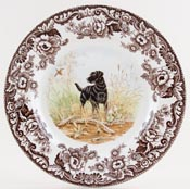 Spode Woodland brown with colour Plate Black Labrador c2006
