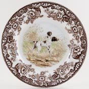 Spode Woodland brown with colour Plate Pointer c2007