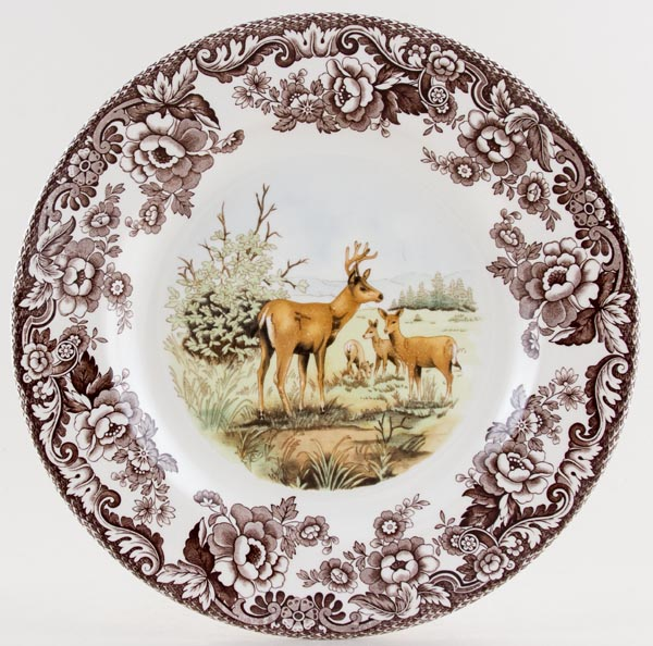 Spode Woodland brown with colour Plate Mule Deer c2005