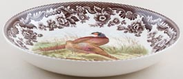 Spode Woodland brown with colour Pasta Bowl Pheasants c2005