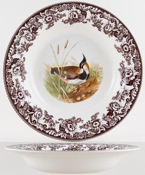 Spode Woodland brown with colour Main Course Plate/Bowl Lapwing c2005