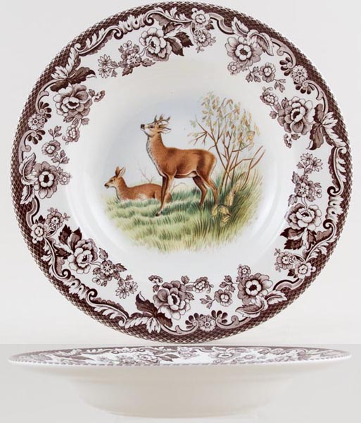 Spode Woodland brown with colour Dessert or Small Soup Bowl Deer c2005